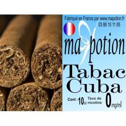 E-Liquide TABAC Cuba, Eliquide Français, recharge liquide pour cigarette électronique, Ecig