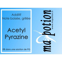 Additif acétyl-pyrazine 5% PG, fumé boisé grillé, noisettes grillées, pour Eliquide