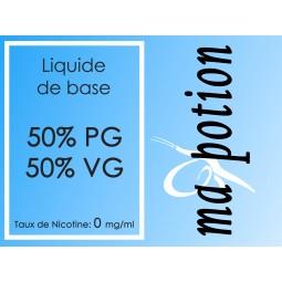 Liquide de Base 50/50. 0 mg/ml de Nicotine, 100ml, pour fabrication de E Liquides
