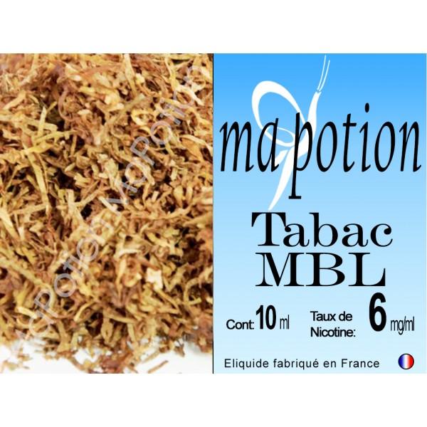 E-Liquide TABAC MBL, Eliquide Français, recharge liquide pour cigarette électronique, Ecig
