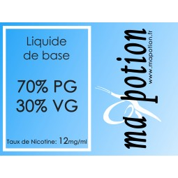 Liquide de Base 70/30 12mg, 10 flacons de 10ml, pour fabrication de Liquide ELiquide cigarette