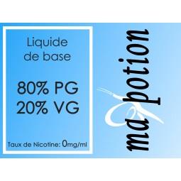 Liquide de Base 80/20. 0 mg/ml de Nicotine, 100ml, pour fabrication de E Liquides